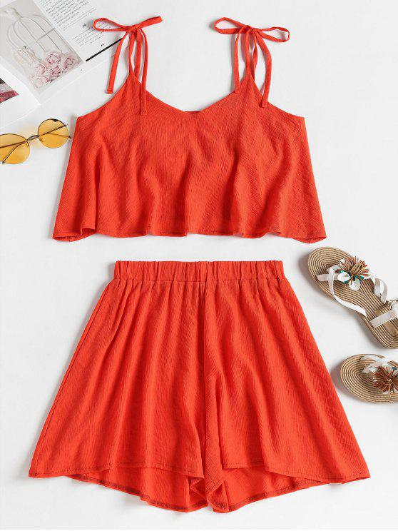 outfits Tied Straps Overlay Top and Shorts Set - BRIGHT ORANGE M