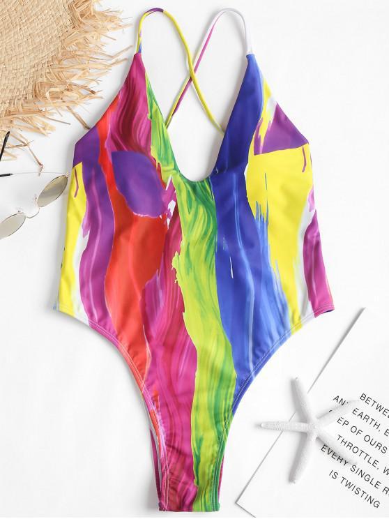 Costume Da Bagno A Taglio Alto Con Stampa Di Arcobaleno - Multi Colori S