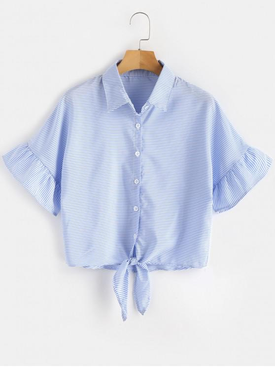womens Knotted Stripes Shirt - LIGHT BLUE S