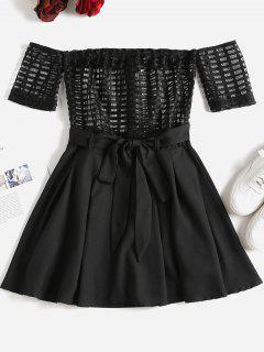 See Through Off Shoulder Mini Dress - Black M