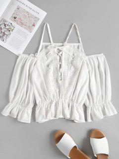 Crochet Trim Lace Up Cold Shoulder Top - Blanco