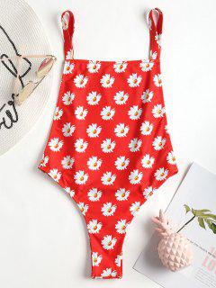 Dropped Armhole Daisy Swimsuit - Love Red L