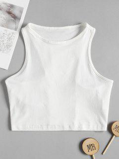 Racerback Cropped Tank Top - White S