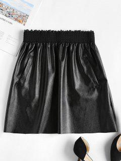 Frilled Faux Leather Mini Skirt - Black M