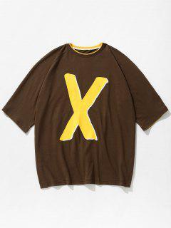 Zweifarbiges Buchstabe Muster T-shirt - Tiefes Braun Xl