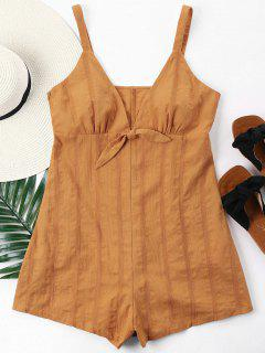 Empire Waist Knotted Romper - Tiger Orange L