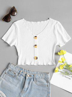 Buttoned Ribbed Top - White S