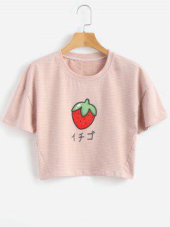 T-shirt Rayé à Cerise - Rose Brumeux