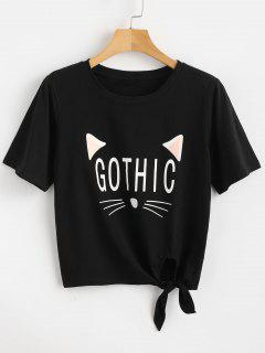 Knotted Cat Graphic Tee - Black