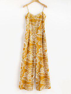 Smocked Tropical Wide Leg Jumpsuit - Golden Brown L