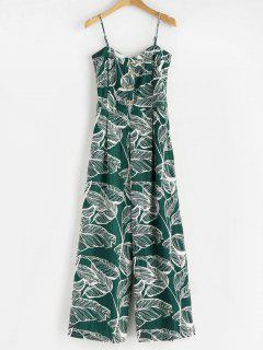 Smoked Tropical Wide Leg Jumpsuit - Mittleres Meer Grün L