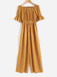 Off Shoulder Wide Leg Jumpsuit - Orange Gold S