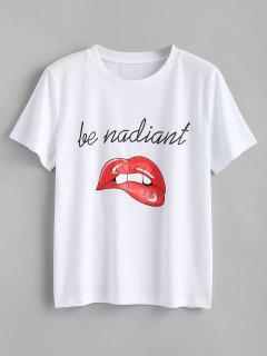 T-shirt à Imprimé Lèvres Et Lettre - Blanc S
