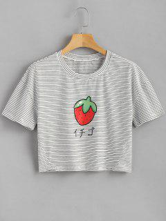 Striped Strawberry T Shirt - White