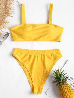 Gepolstertes Hohes Bein Bikini-Set - Sonne Gelb L