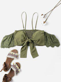 Bowknot Smocked Cold Shoulder Crop Top - Army Green L