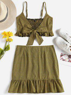 Checked Tie Front Top Skirt Two Piece Set - Golden Brown L