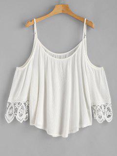 Cold Shoulder Crochet Panel Top - White M