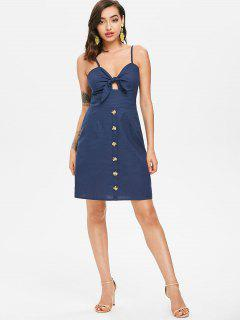 Tie Front Mini Skater Dress - Deep Blue M