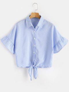 Knotted Stripes Shirt - Light Blue S