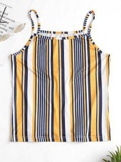 Contrasting Stripes Tank Top - Golden Brown L