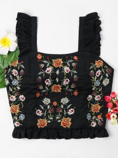 Floral Embroidered Ruffles Tank Top - Black M
