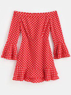 Off The Shoulder Polka Dot Party Dress - Fire Engine Red L