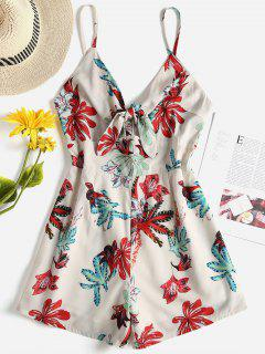 Floral Tie Front Cami Romper - Cornsilk S