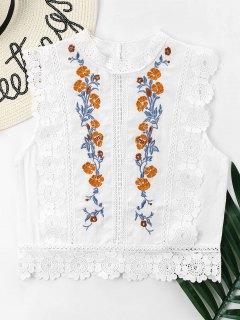 Blumen Bestickte Spitze Bluse - Weiß M