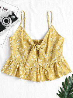 Feather Print Knotted Cami Top - Harvest Yellow S