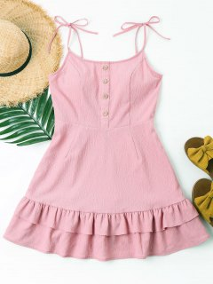 Buttons Tiered Cami Dress - Pink L