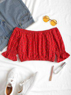 Off Shoulder Dotted Blouse - Love Red S