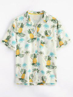 Camisa De Bolsillo Con Estampado De Piña Y Botones - Amarillo S