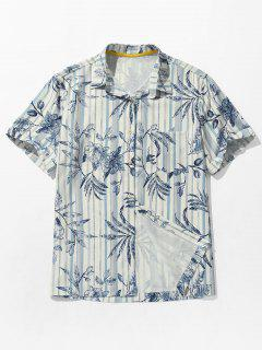 Leaves Print Pocket Striped Beach Shirt - Cobalt Blue M