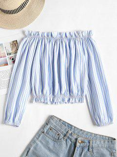 Striped Frilled Off The Shoulder Top - Light Sky Blue L