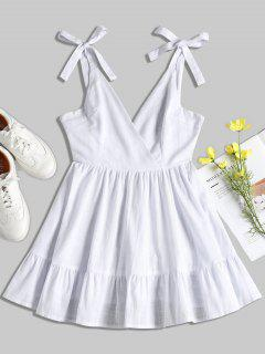 Open Back Ruffles Mini Dress - White S