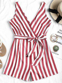 Stripes Belted Romper - Red S