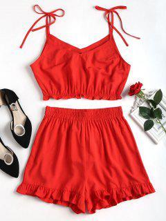 Conjunto De Pantalones Cortos Con Volantes Con Volantes - Amo Rojo M