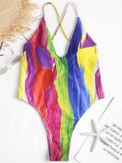 Rainbow Paint High Cut Swimsuit - Multi S