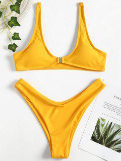 Vorder Schließung Hohes Bein Bikini Set - Helles Gelb S