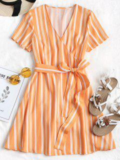 Striped Wrap Dress - Dark Orange M