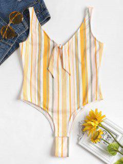 Striped Tied Front Bodysuit - Multi M
