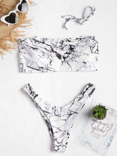 Marmor Druck Hohes Bein Bikini Set - Weiß S