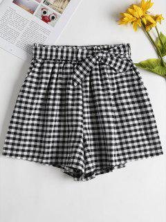 High Waisted Gingham Paper Bag Shorts - Multi L