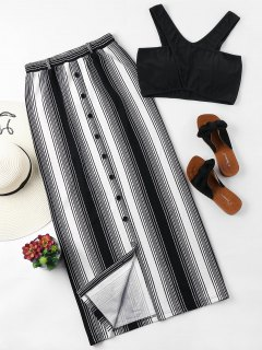 Striped Button Up Skirt Set - Black S