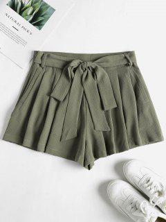 Pockets High Waisted Paper Bag Shorts - Sage Green L