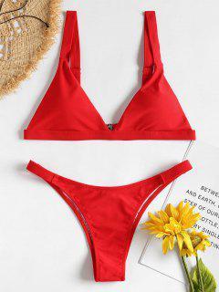 Padded Plunge Bikini - Red M