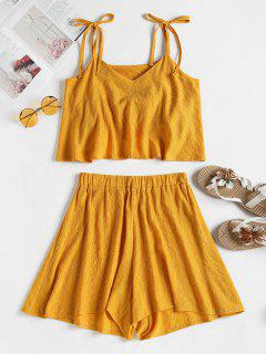 Tied Straps Overlay Top And Shorts Set - Golden Brown M