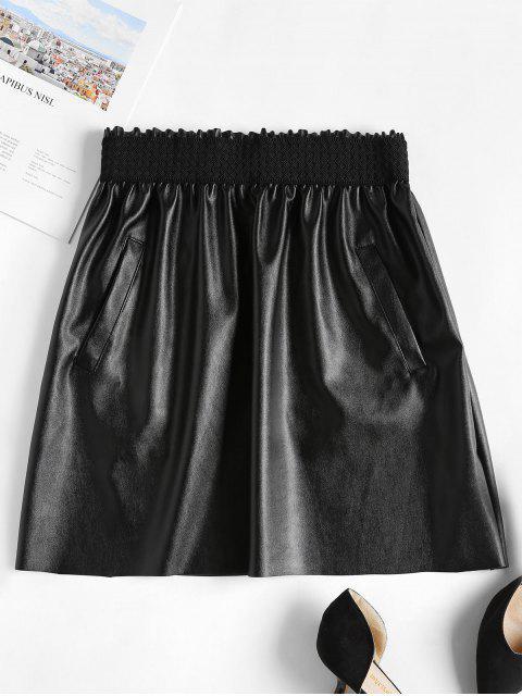 Minifalda de imitación de cuero con volantes - Negro L Mobile