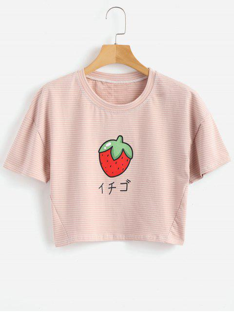 Camiseta de fresa a rayas - Rosa  Talla única Mobile